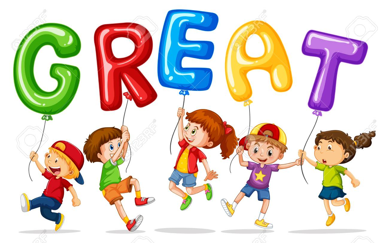 Children holding balloons with word great illustration.
