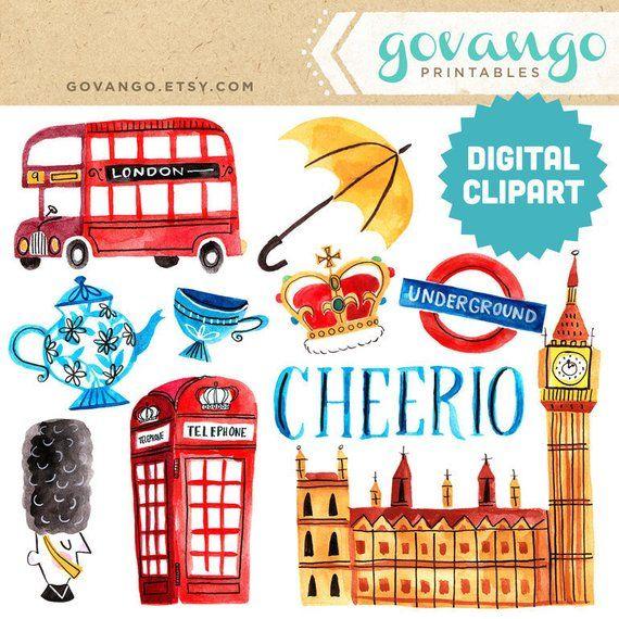 LONDON Digital Clipart Instant Download Illustration Great Britain.