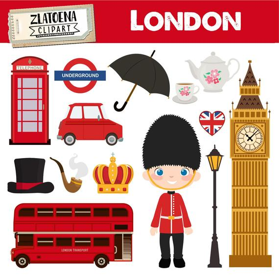 London Clipart British Clipart England graphics Great Britain clipart  Travel Big Ben Crown Umbrella Royal Guard City Great Britain clipart.