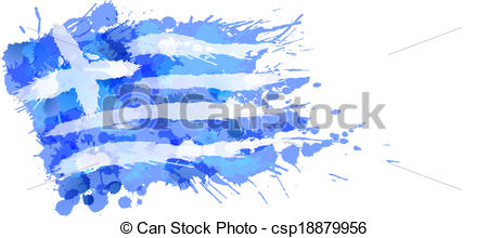 Greek flag made of colorful splashes.