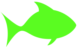 fish outline green.