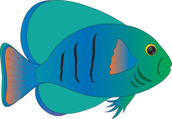 Free Clip Art Picture of a Blue and Green Tropical Fish.