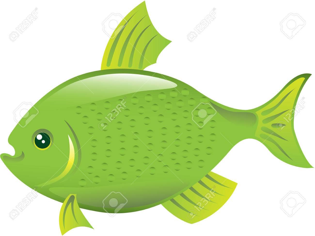 Green fish vector illustration clip.