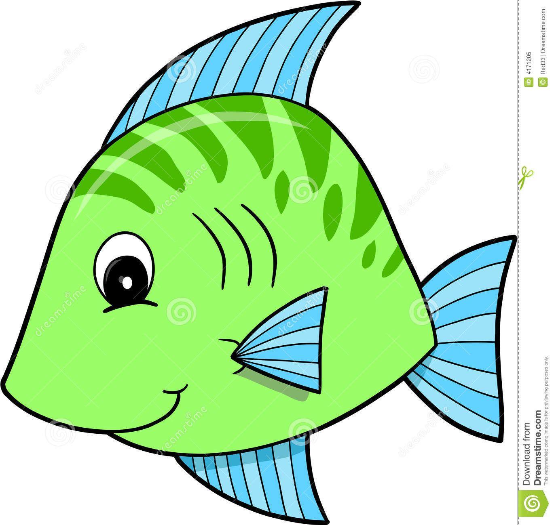 Cute Green Fish Vector.