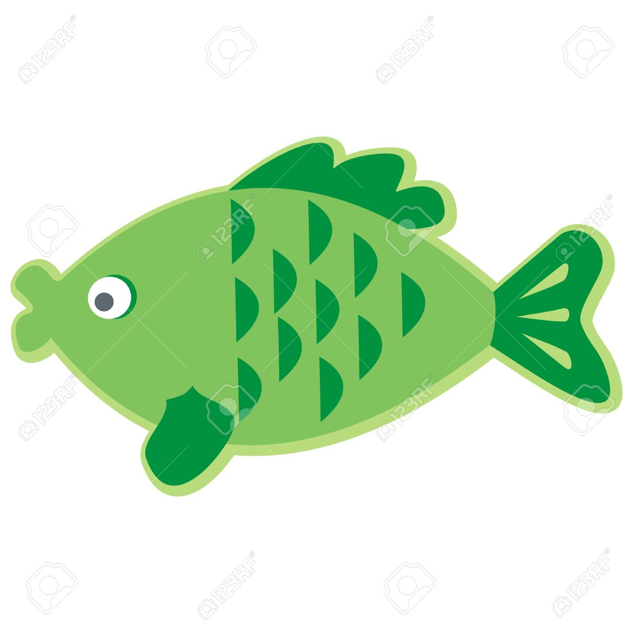 Green fish with scales and fins..