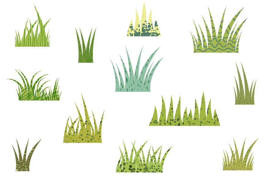 Green grass clipart set, Textured grass clipart.