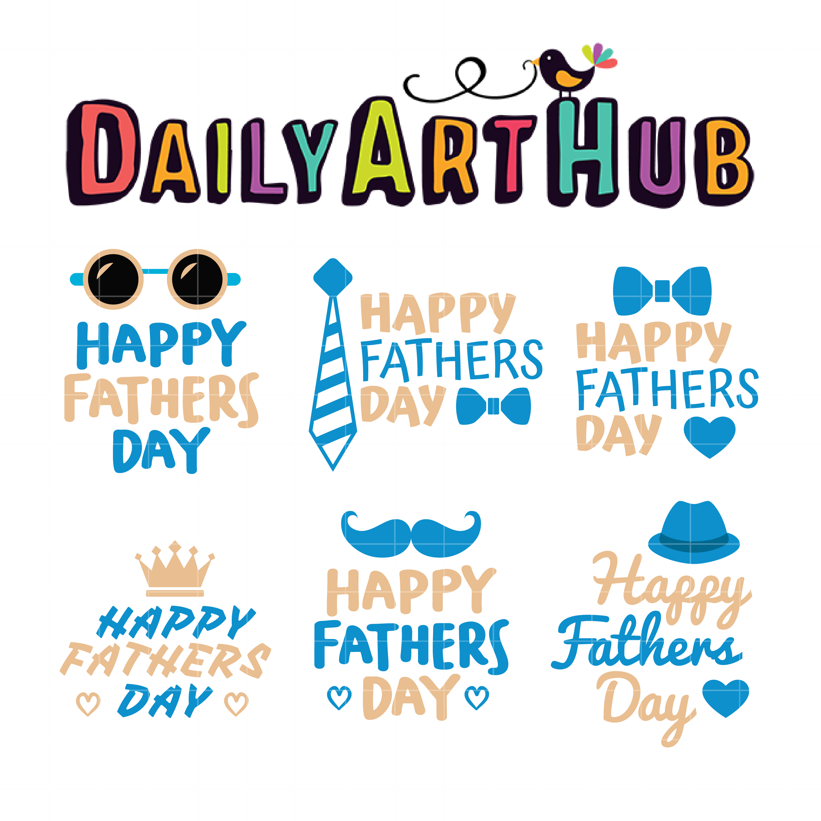 Father's Day Greetings Clip Art Set.