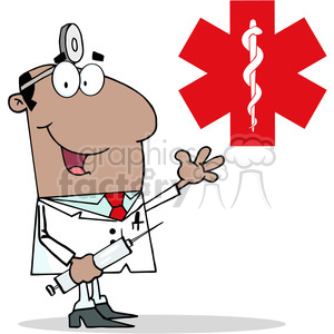 128512 RF Clipart Illustration African American Doctor Holding Syringe and  Waving for Greetings In Front Of Red Cross clipart. Royalty.