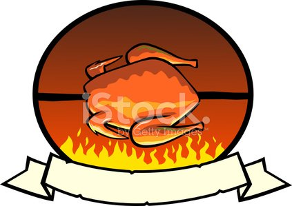 Grilled Chicken Label Clipart Image.