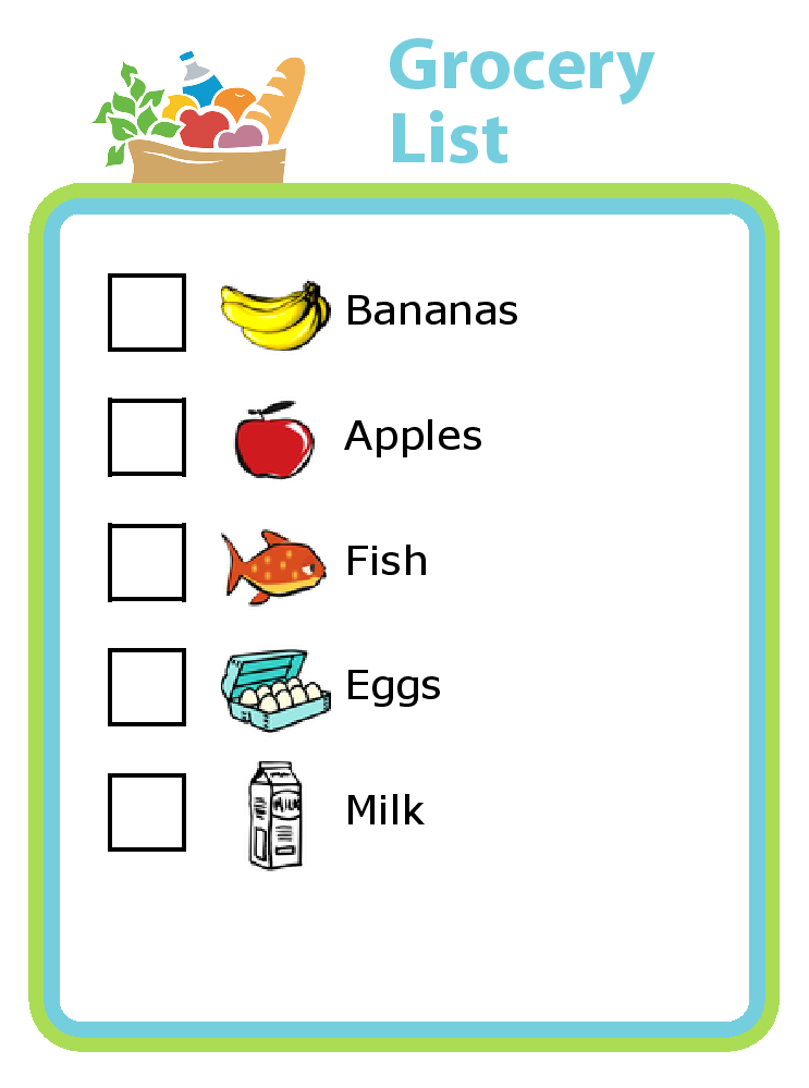 Grocery List Clipart.