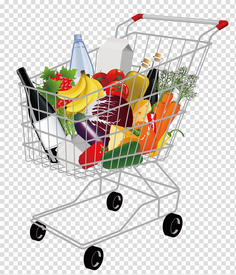 Cart of groceries illustration, Shopping cart Supermarket.