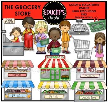 The Grocery Store Clip Art Bundle {Educlips Clipart}.