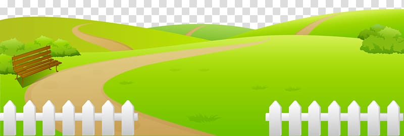 Brown bench illustration, , Grass Ground with Fence.