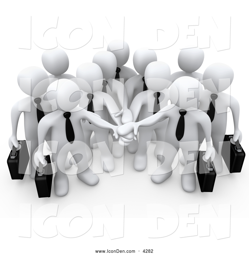 Clip Art of a Group of Office Business People Carrying.