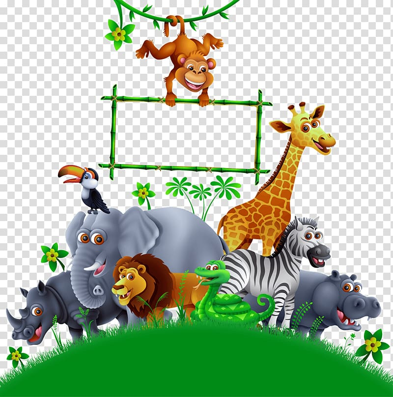 Group of animals illustration, Drawing , Indoor Playground.