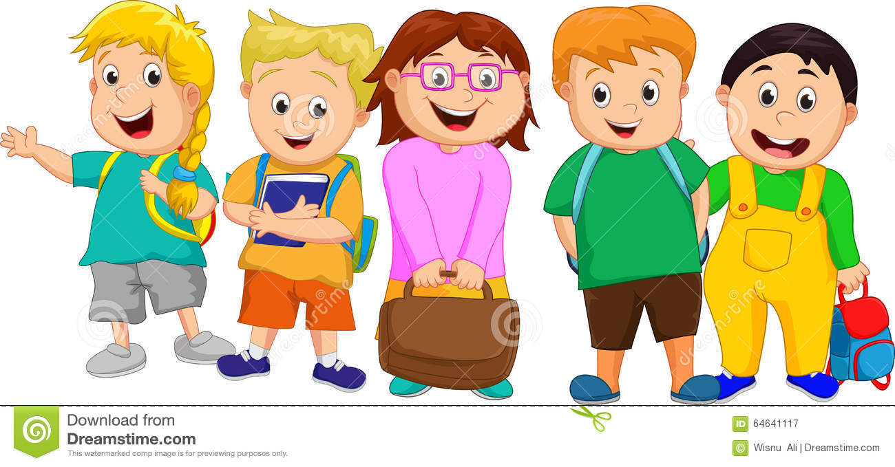 Group Of Kids At School Clipart.