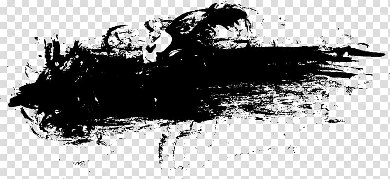 Black and white Drawing , Grunge Banner transparent.