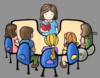Guided Reading Kids Clip Art Bundle.
