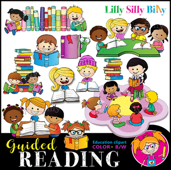 GUIDED READING Clipart set. BLACK AND WHITE & Color Bundle. {Lilly Silly  Billy}.
