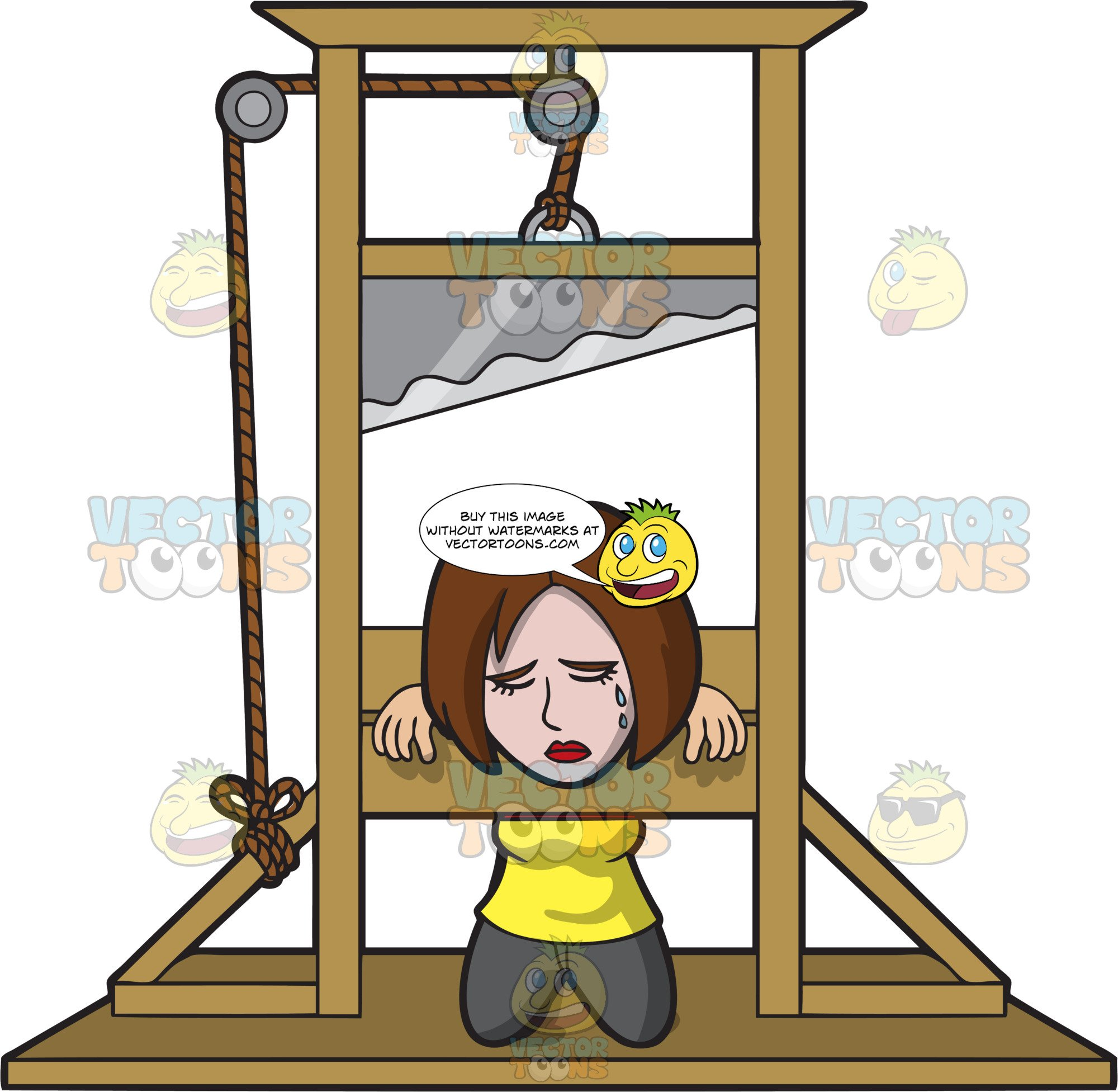 A Woman Sentenced To Death In A Guillotine.
