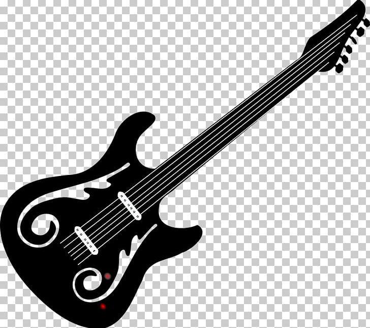 Bass Guitar Black And White Electric Guitar PNG, Clipart.