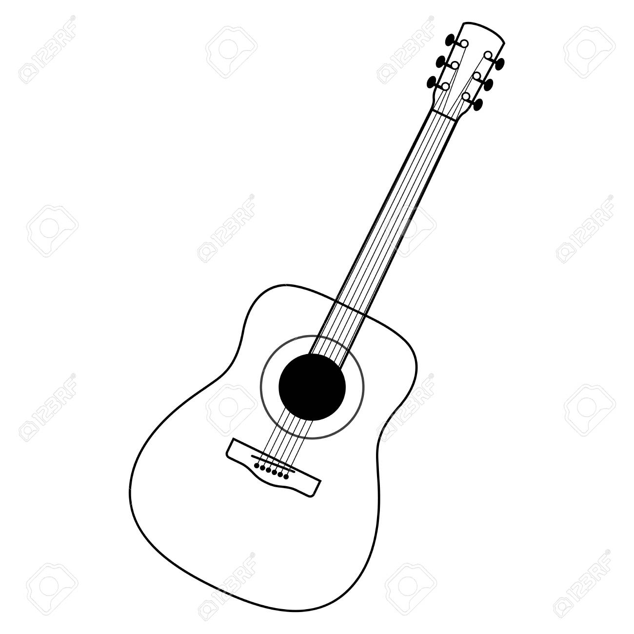 75 Guitar Black And White free clipart.