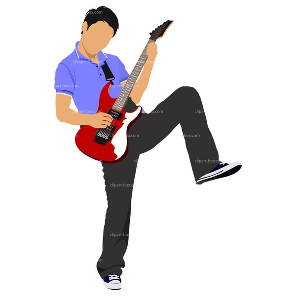 Electric Guitar Player Clipart.