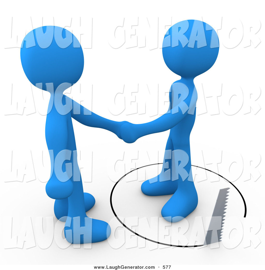 Humorous Clip Art of a Gullible Blue Person Shaking Hands on.