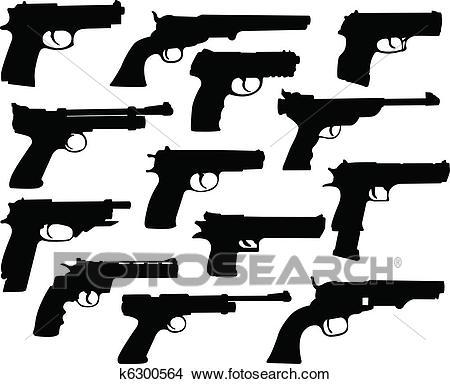 Guns silhouettes Clipart.