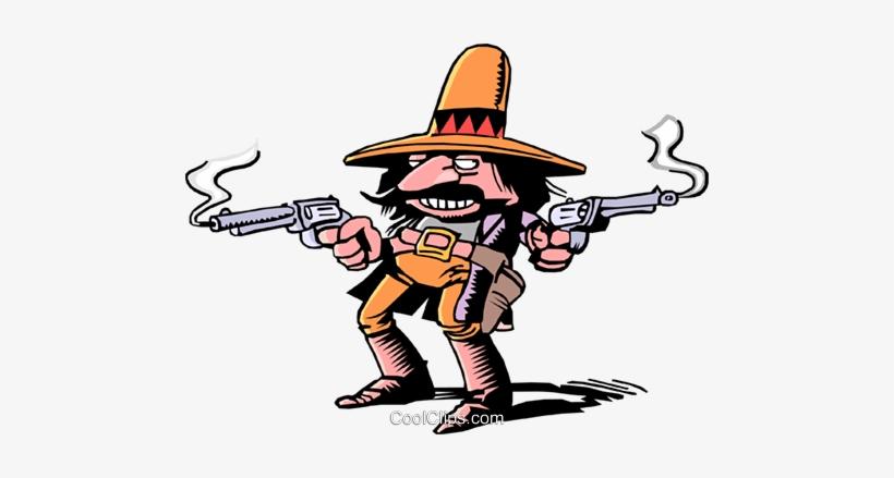 Cartoon Gunslinger Royalty Free Vector Clip Art Illustration.