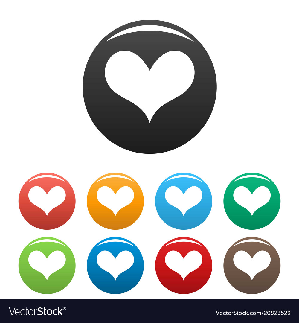 Gustatory heart icons set color.