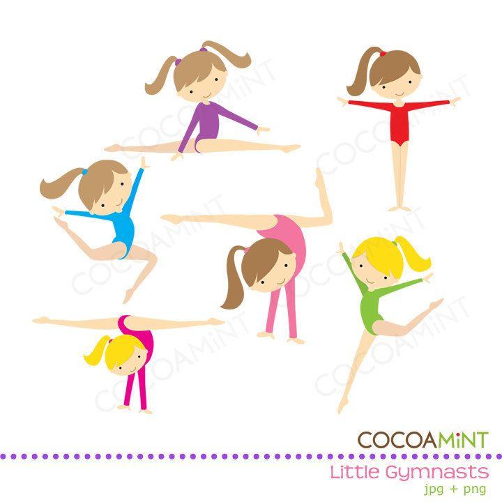 Little Girl Gymnasts Clip Art. $5.00, via Etsy..