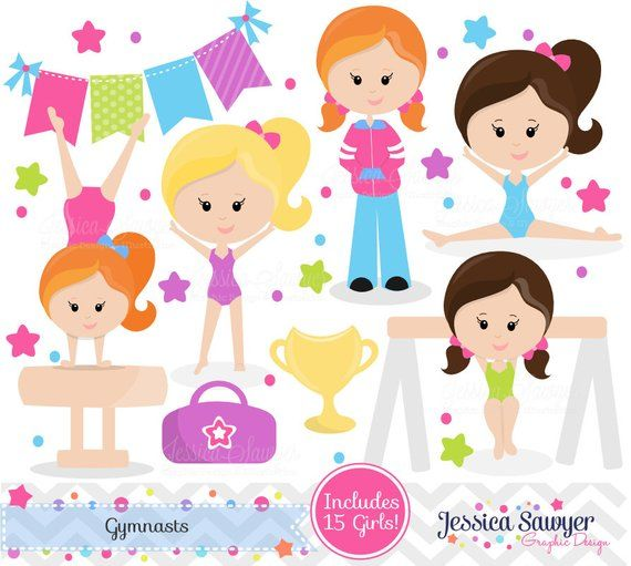 INSTANT DOWNLOAD, Gymnastics Clipart clip art, girls little tumbler.
