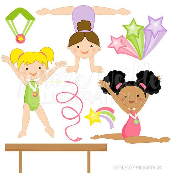 Girls Gymnastics Cute Digital Clipart for Commercial and Personal.
