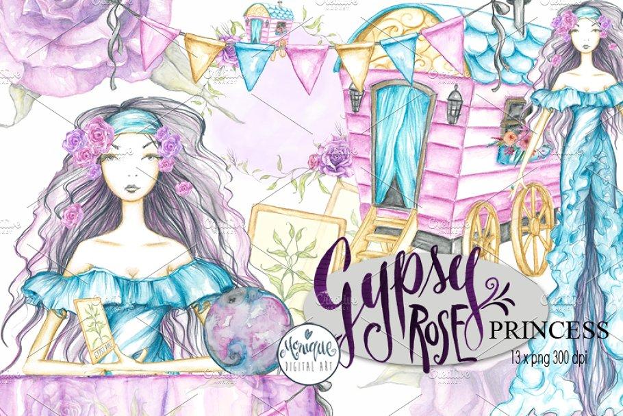 Gypsy Clipart Watercolor.