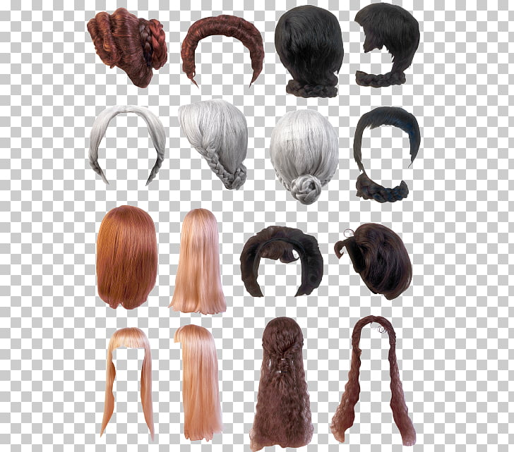 Wig Hair, Hair brush set effect PNG clipart.