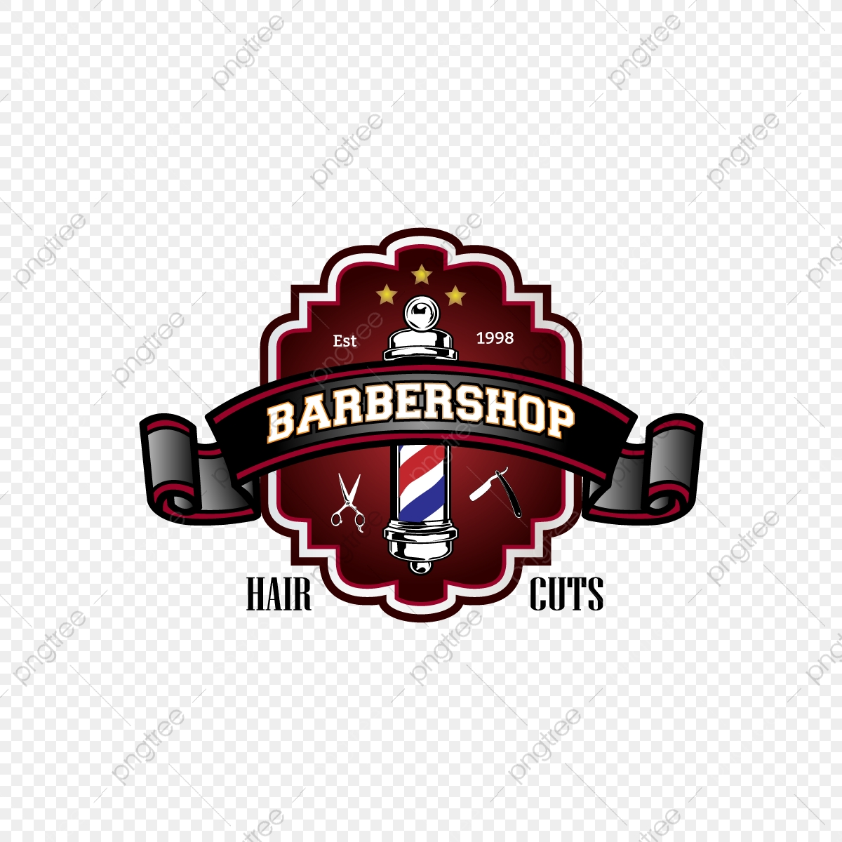 Barbershop Hair Cuts And Symbol With Red And Black Effect.