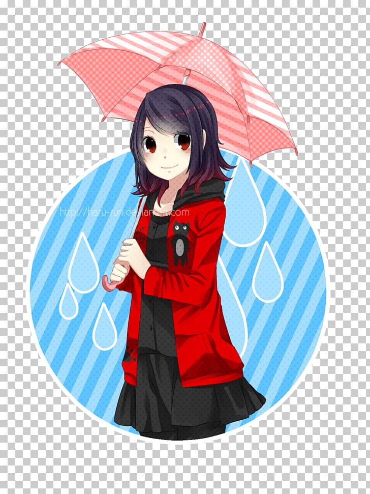 McCollough effect Mangaka Black hair Cartoon, rainy day PNG.