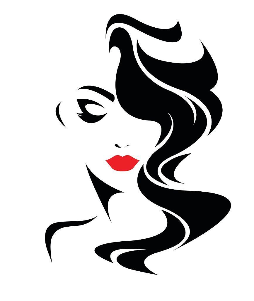 women long hair style icon, logo women face on white.
