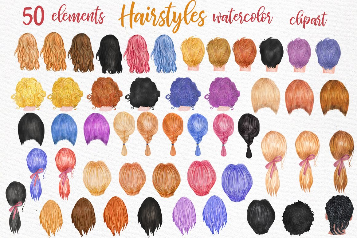 Hairstyles clipart Custom hairstyle Watercolor hair styles.
