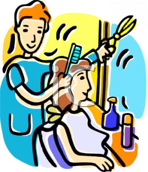 Getting Hair Done Clipart.
