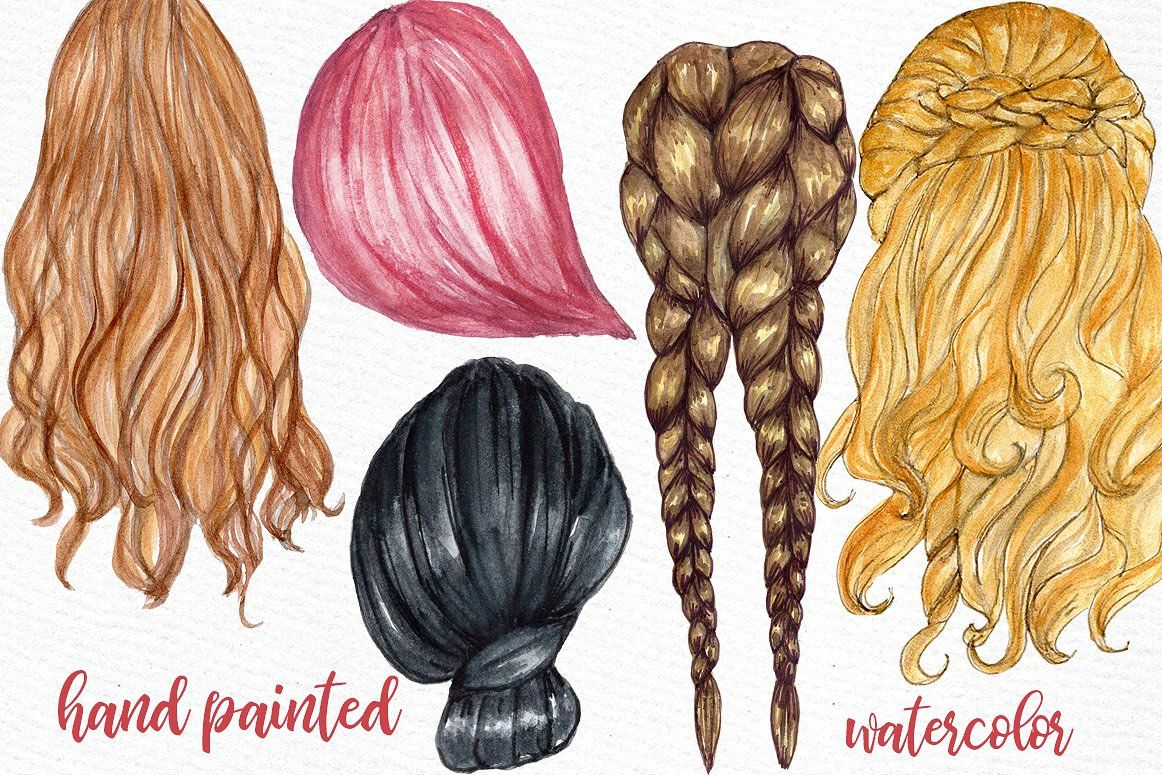 Watercolor Hairstyles clipart #Ad , #Sponsored, #designs.