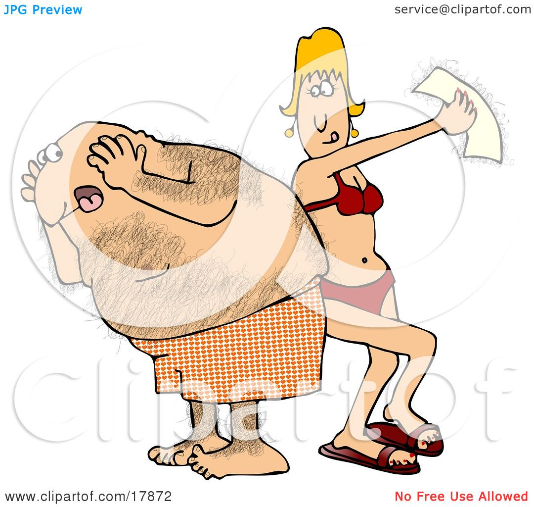 Clipart Illustration of a Middle Aged Hairy Caucasian Man In.
