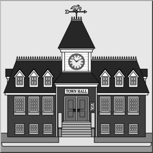 Clip Art: Buildings: Town Hall Grayscale I abcteach.com.