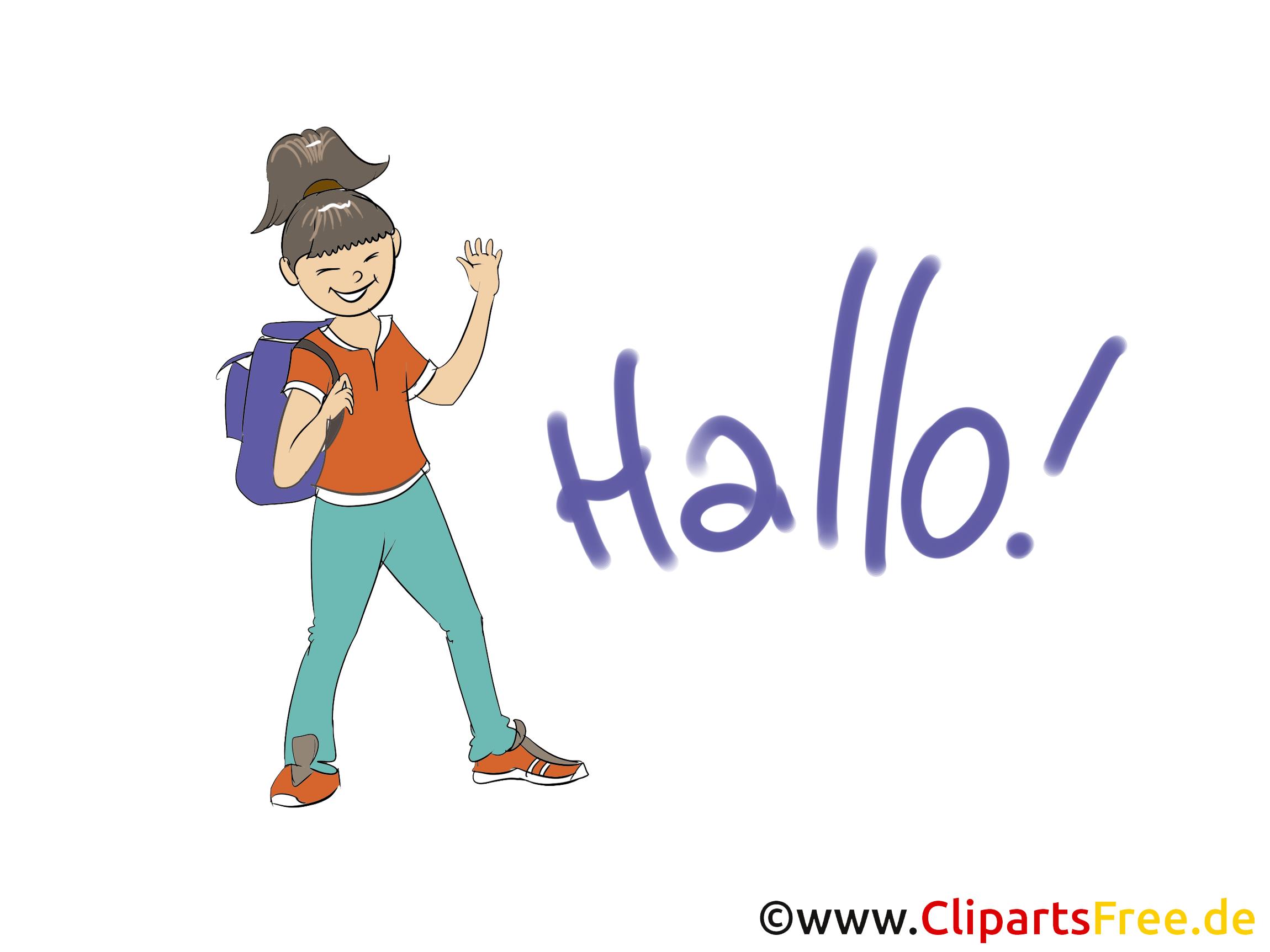 Hallo Grusskarte, Clipart, Bild, Grafik gratis.