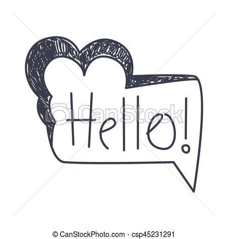 hallo, wort, clipart, gegenstand, freigestellt, hand, schwarz, gezeichnet,  vortrag halten , komiker, blase, weißes, schablone.