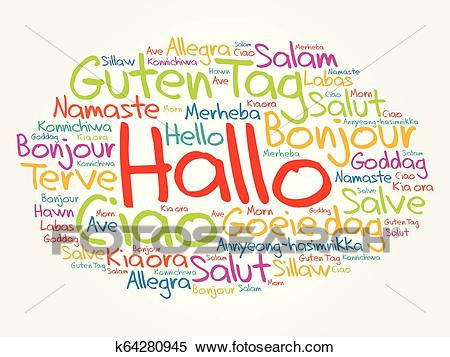Hallo (Hello Greeting in German) word cloud Clipart.