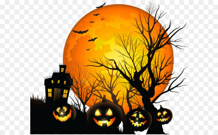 Halloween Clip Art Large Haunted House And Moon Png Clipart.