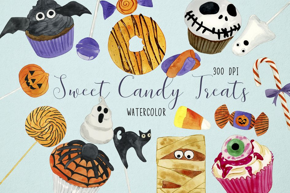 Watercolor Halloween Candy Clipart, Halloween Candy Clip Art.