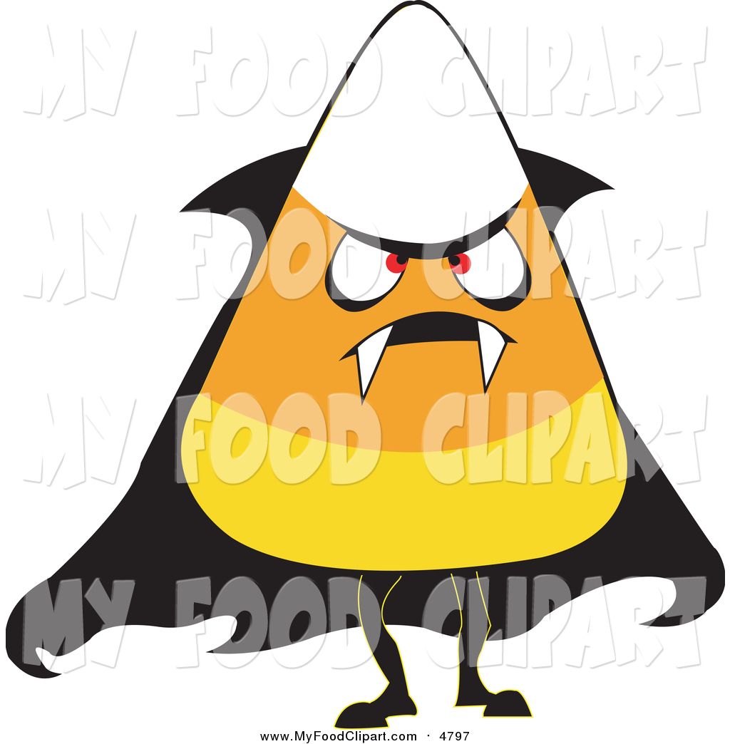 Food Clip Art of a Halloween Candy Corn Wearing a Vampire Costume.
